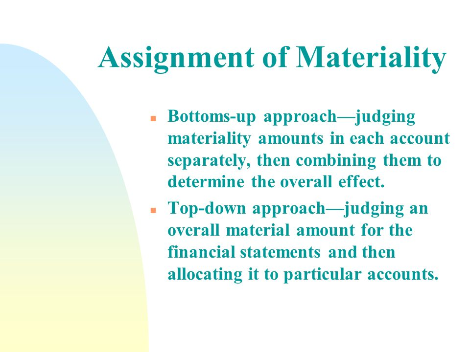 Assignment of Materiality