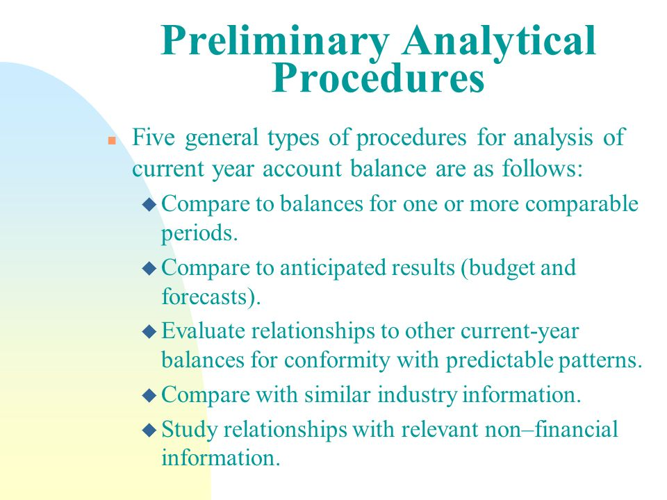 Preliminary Analytical Procedures