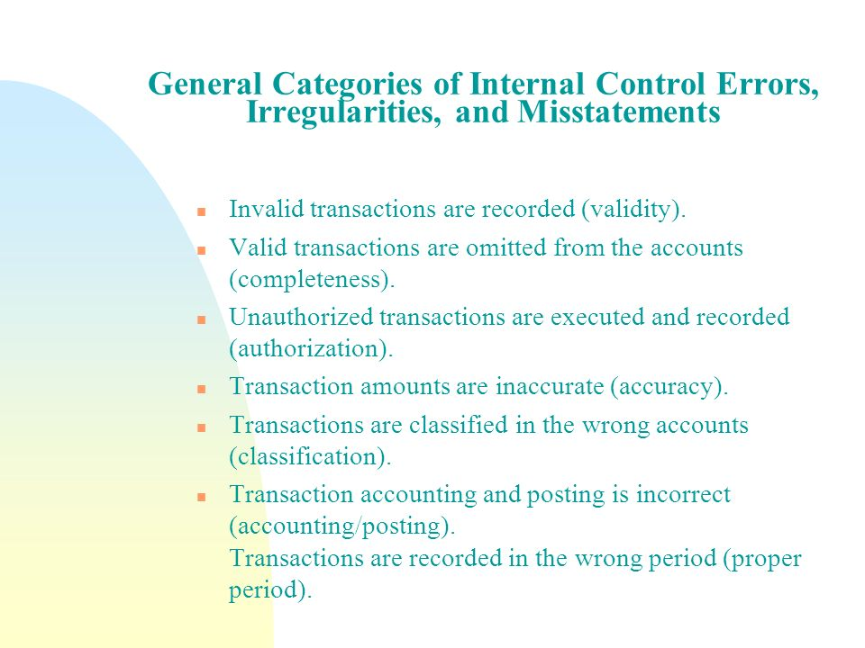 General Categories of Internal Control Errors, Irregularities, and Misstatements