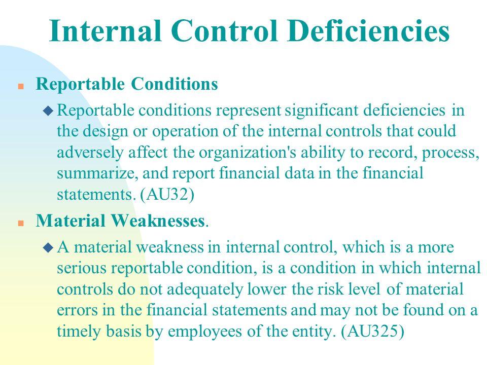 Internal Control Deficiencies