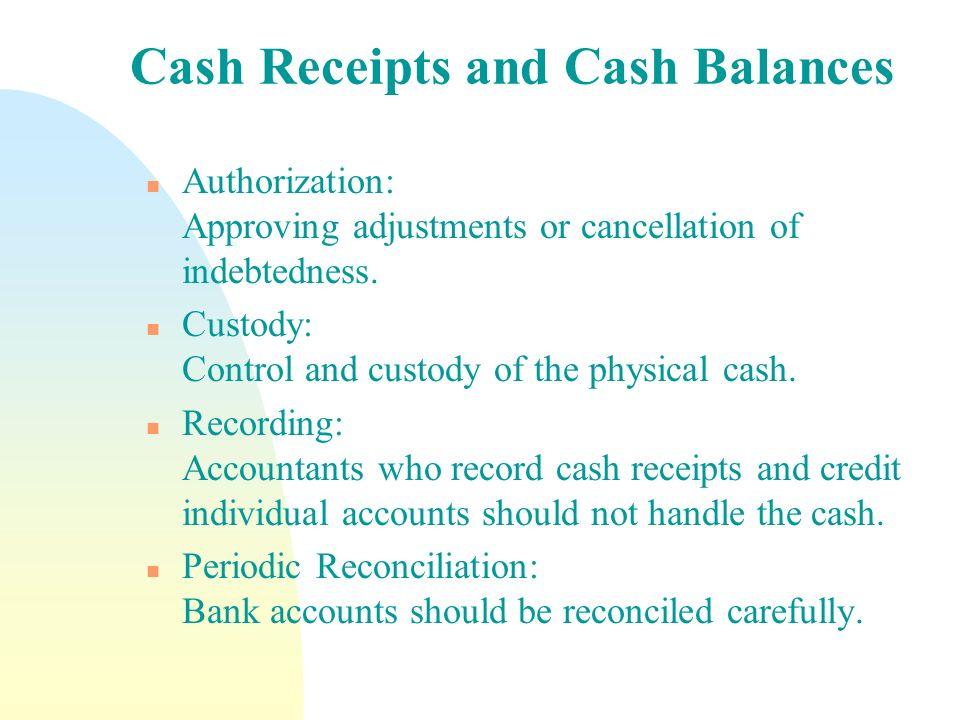 Cash Receipts and Cash Balances