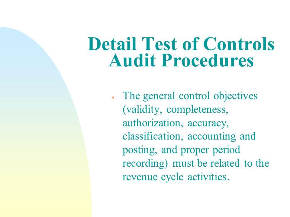Detail Test of Controls Audit Procedures