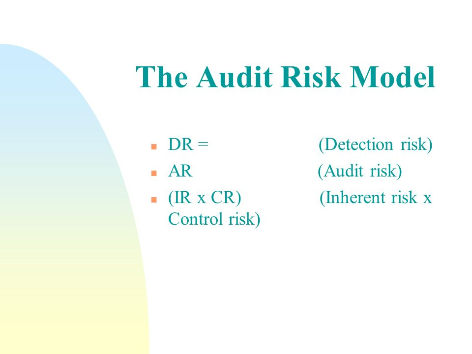 The Audit Risk Model DR = (Detection risk) AR (Audit risk)
