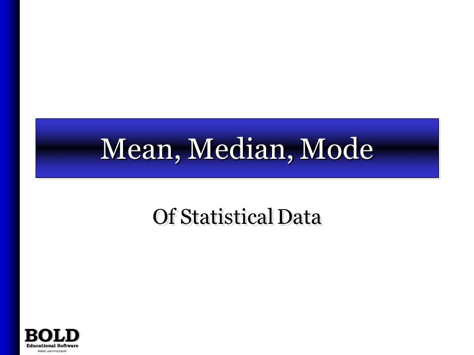 Mean, Median, Mode Of Statistical Data