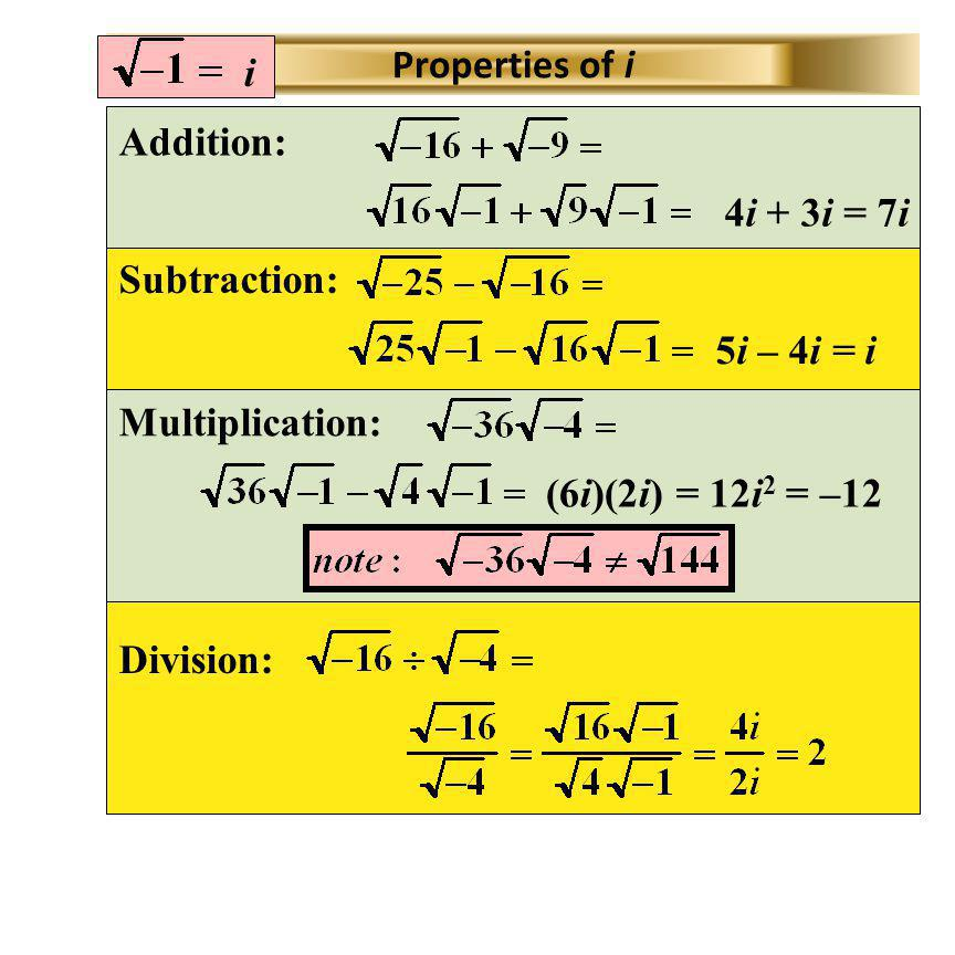 i Properties of i. Addition: 4i + 3i = 7i. Subtraction: 5i – 4i = i. Multiplication: (6i)(2i) = 12i2 = –12.
