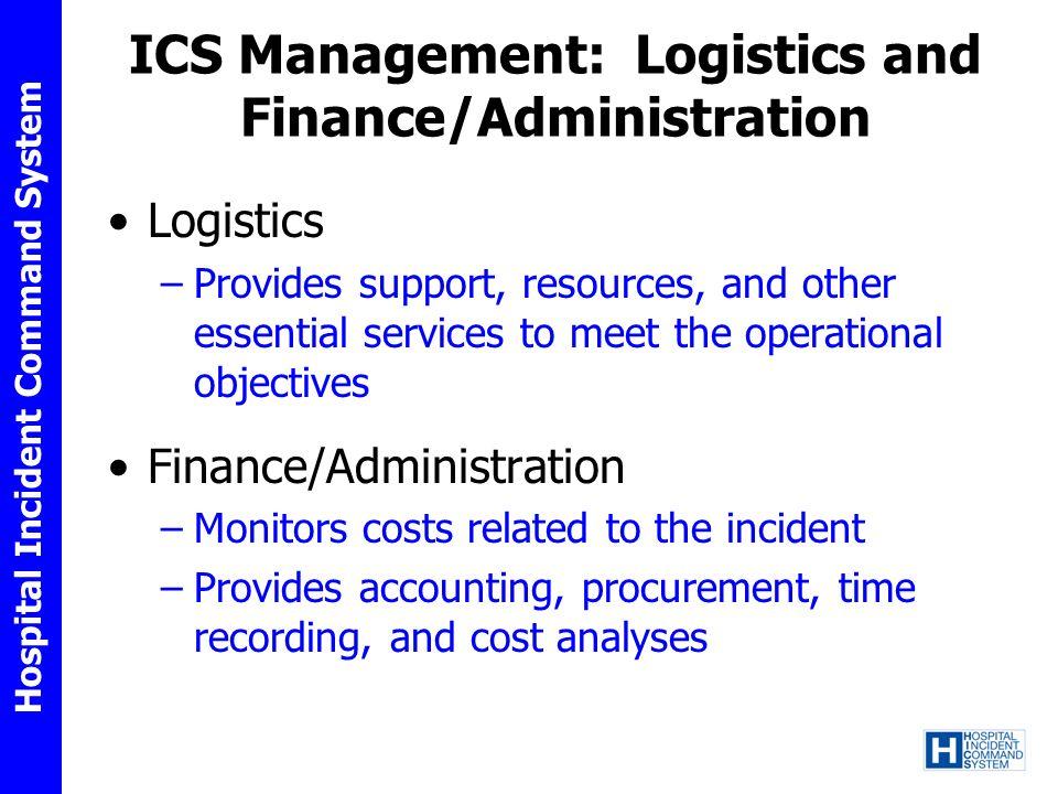 ICS Management: Logistics and Finance/Administration