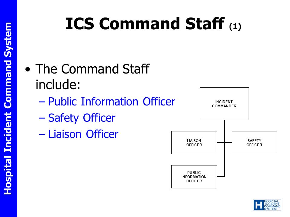 ICS Command Staff (1) The Command Staff include: