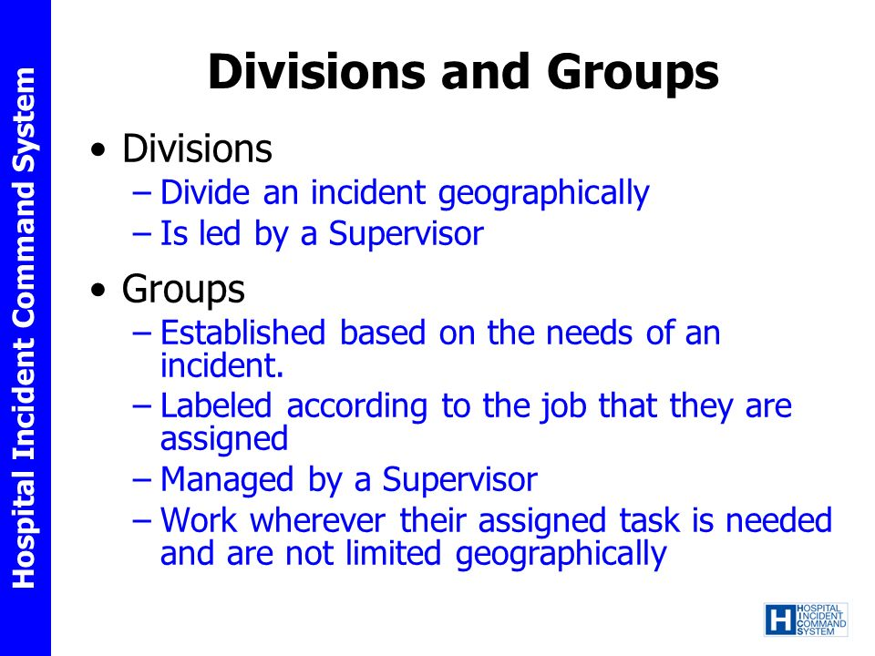Divisions and Groups Divisions Groups