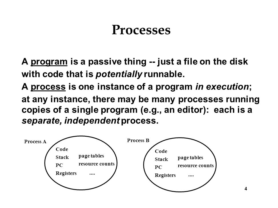 Processes A program is a passive thing -- just a file on the disk