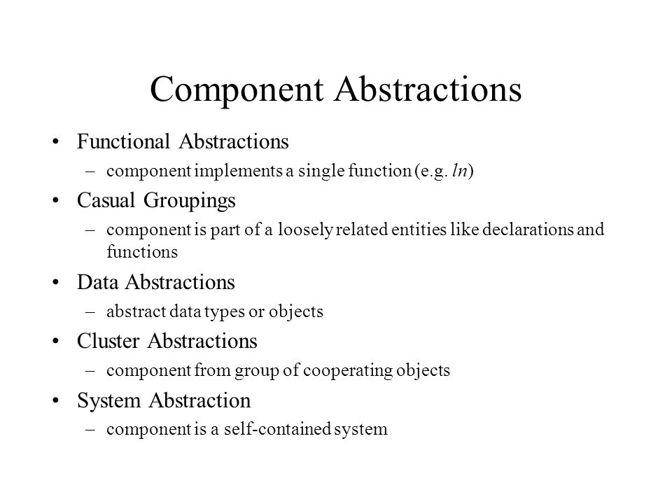 Component Abstractions