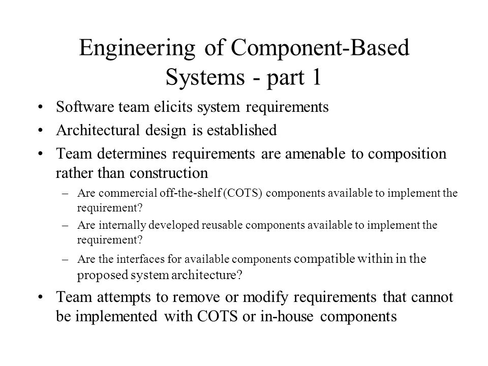 Engineering of Component-Based Systems - part 1