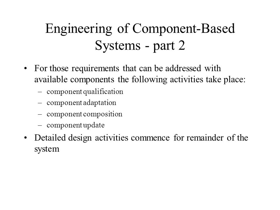 Engineering of Component-Based Systems - part 2