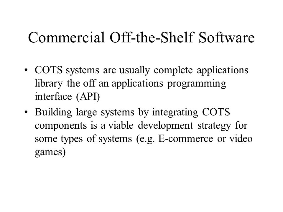 Commercial Off-the-Shelf Software