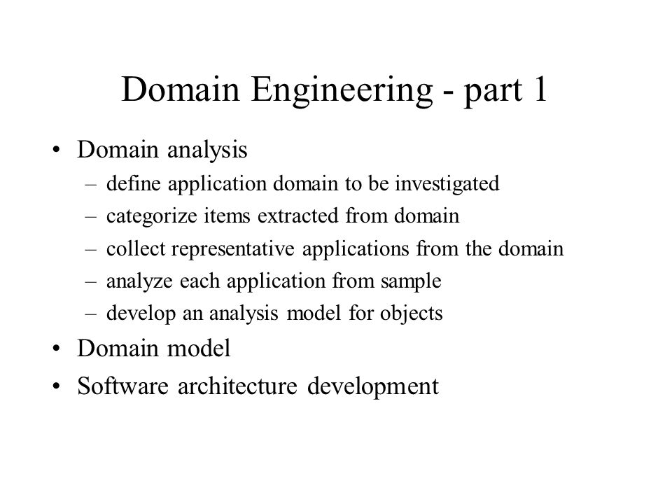 Domain Engineering - part 1