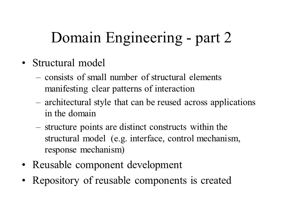Domain Engineering - part 2