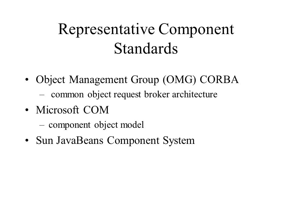 Representative Component Standards