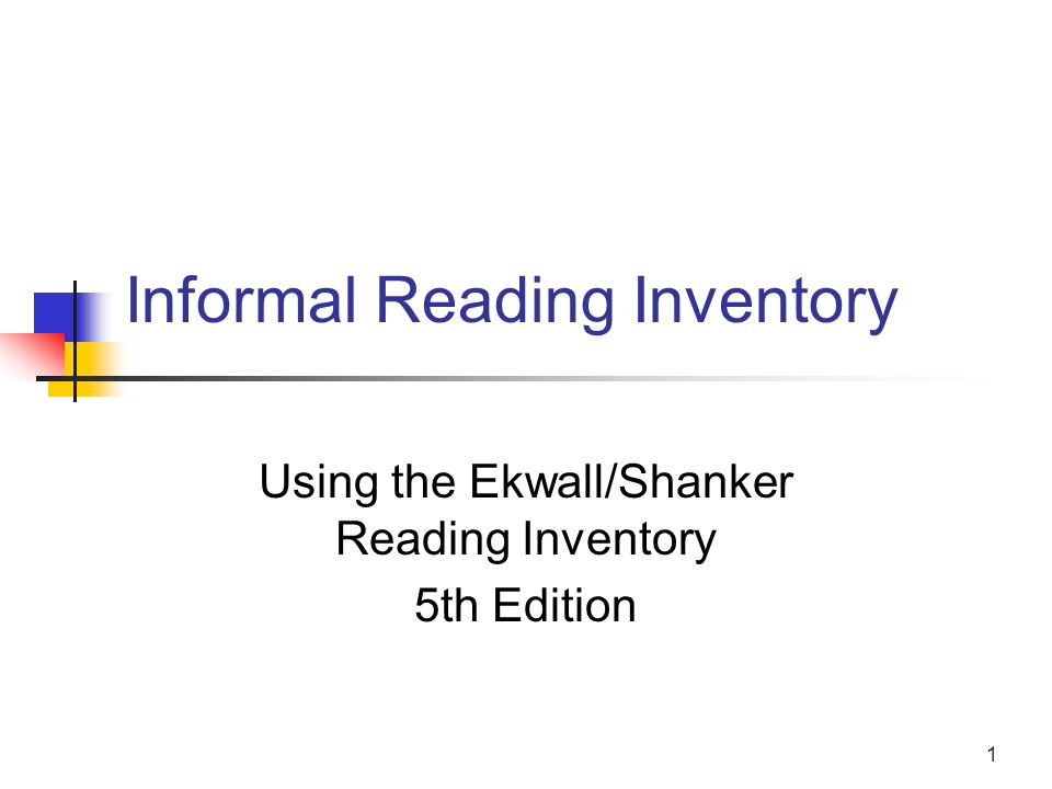 Informal Reading Inventory