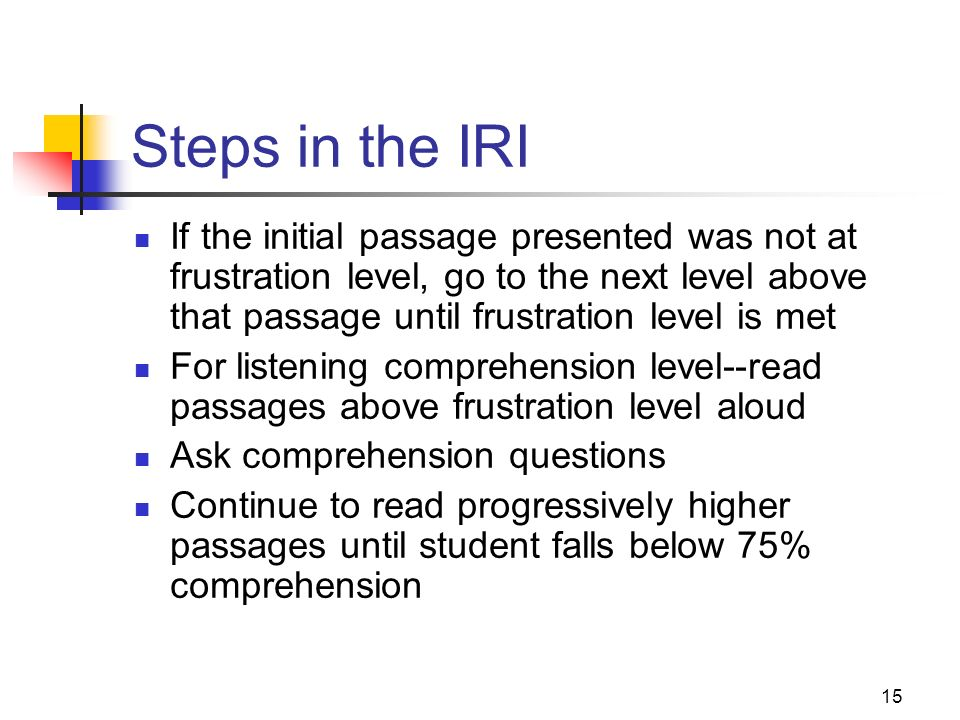 Steps in the IRI