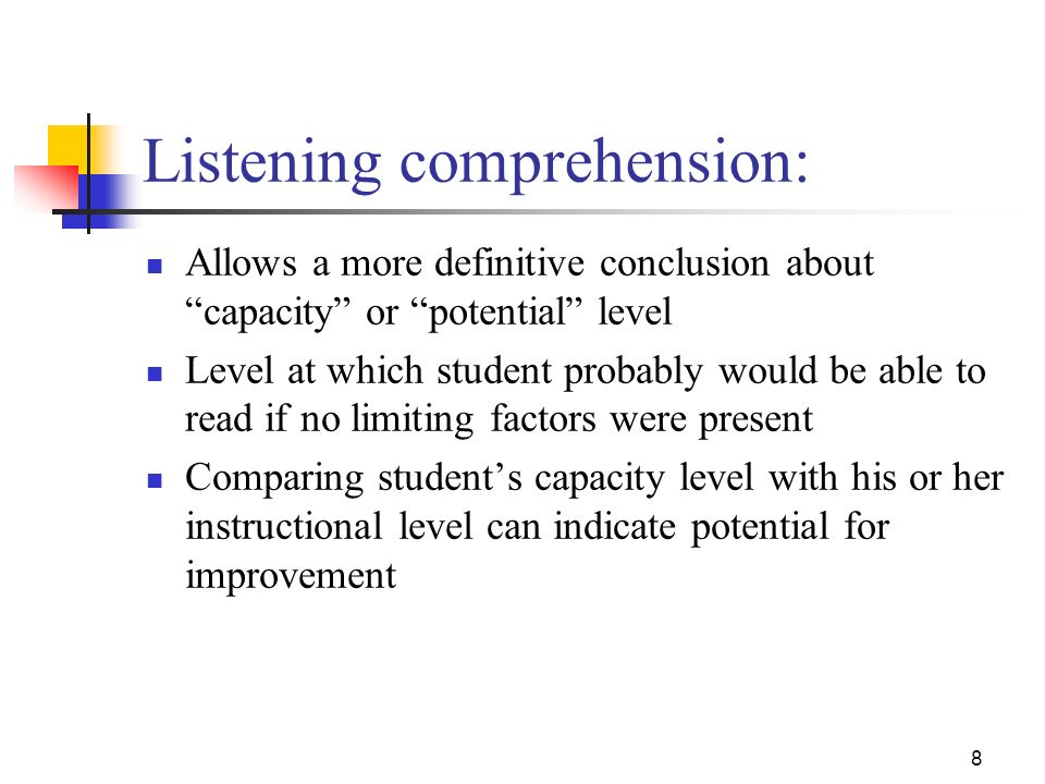 Listening comprehension: