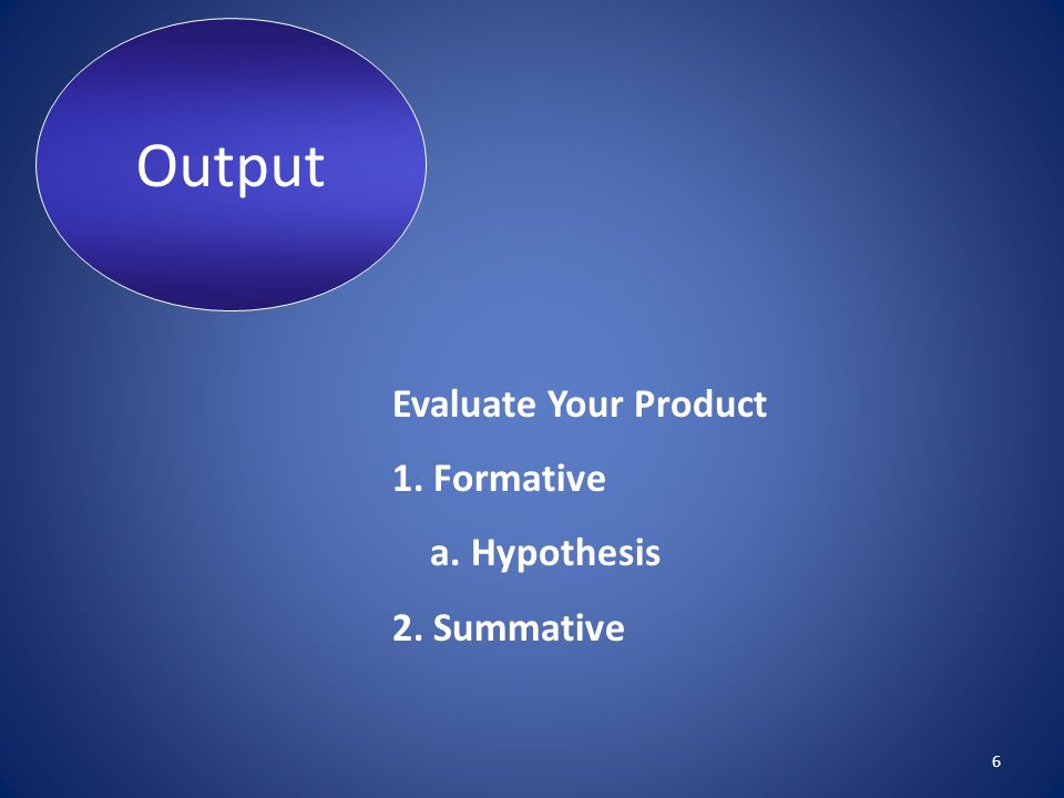 Output Evaluate Your Product 1. Formative a. Hypothesis 2. Summative