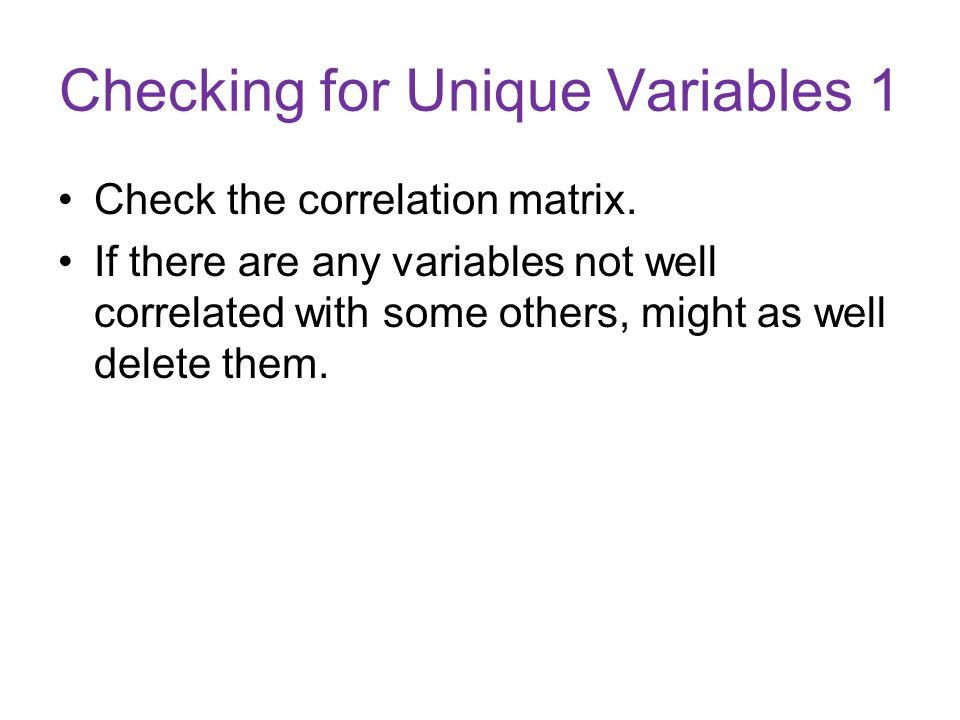 Checking for Unique Variables 1
