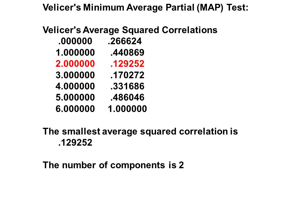 Velicer s Minimum Average Partial (MAP) Test: