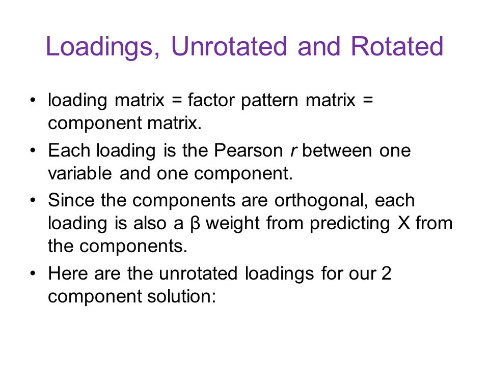 Loadings, Unrotated and Rotated