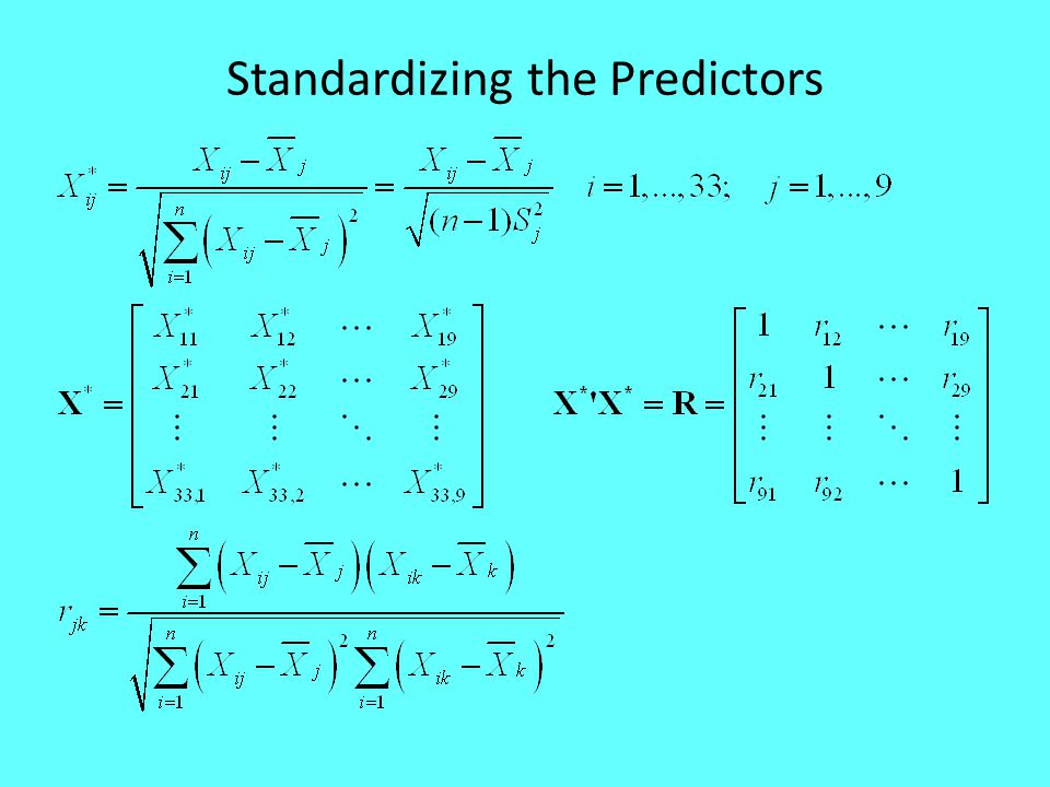 Standardizing the Predictors
