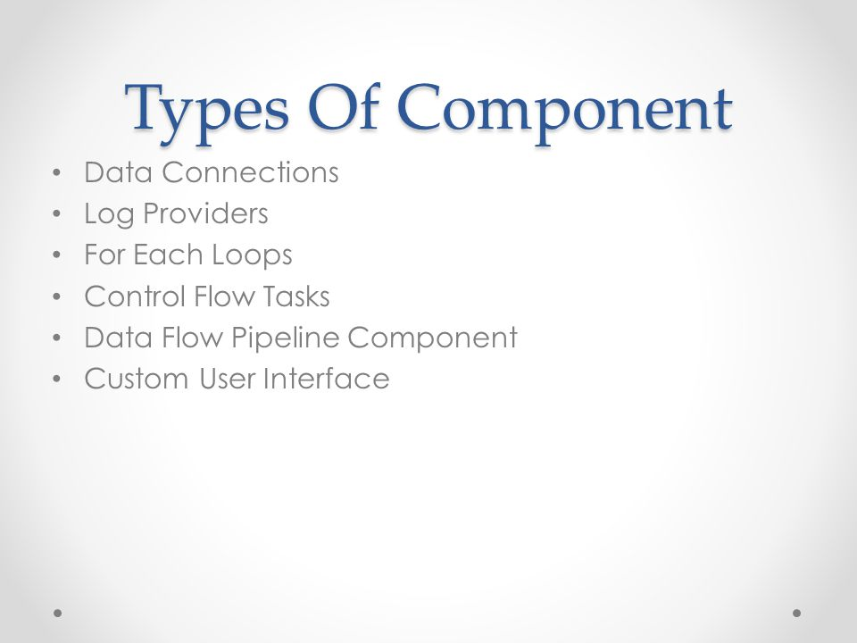 Types Of Component Data Connections Log Providers For Each Loops