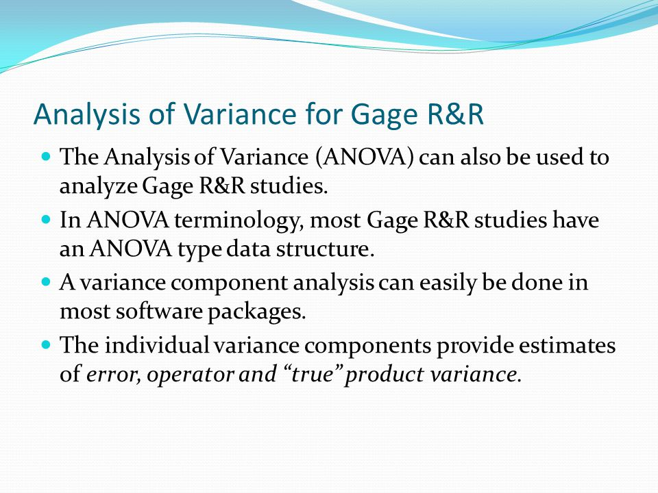 Analysis of Variance for Gage R&R