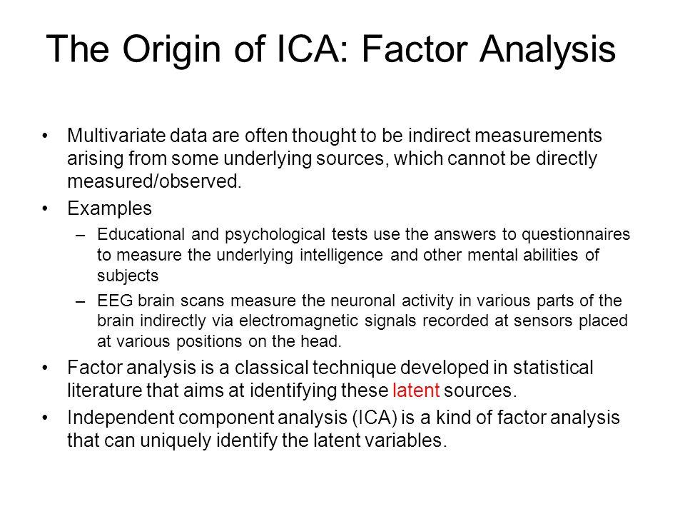The Origin of ICA: Factor Analysis
