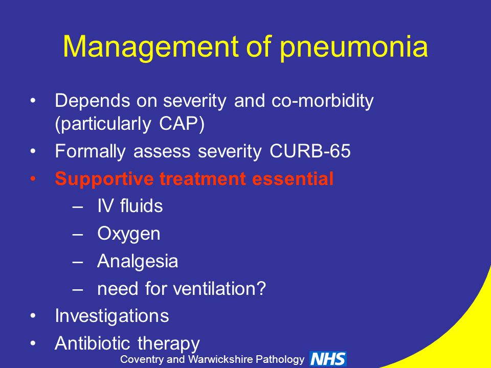Management of pneumonia