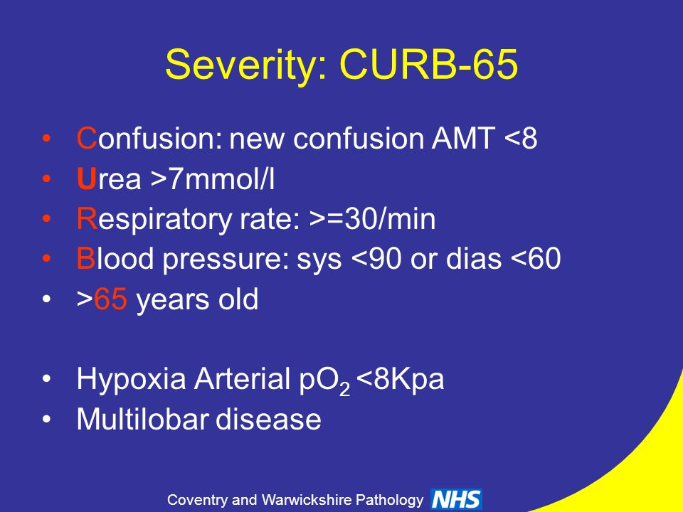 Severity: CURB-65 Confusion: new confusion AMT <8 Urea >7mmol/l