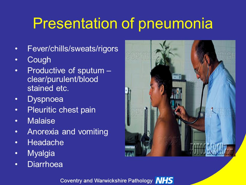 Presentation of pneumonia