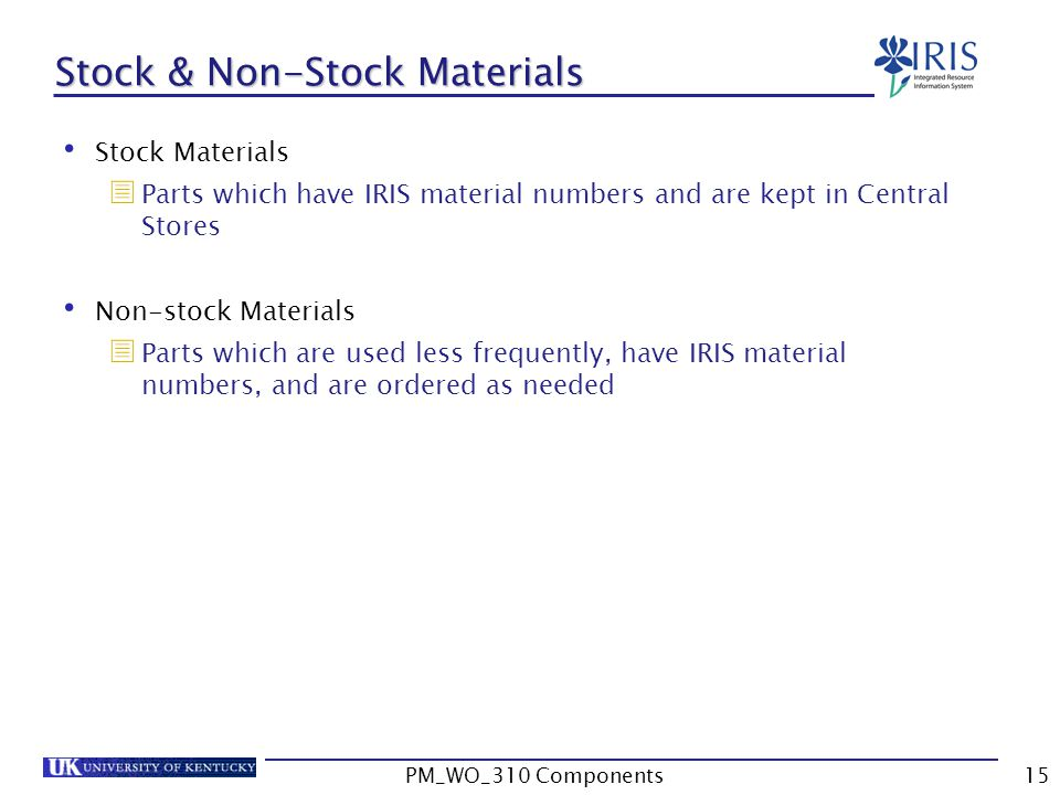 Stock & Non-Stock Materials