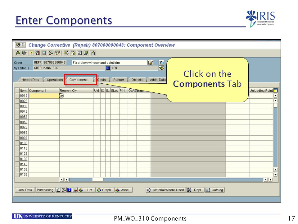 Click on the Components Tab