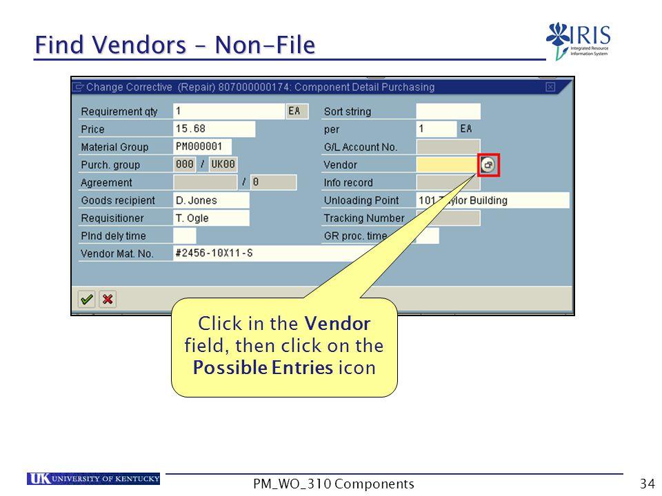 Find Vendors – Non-File