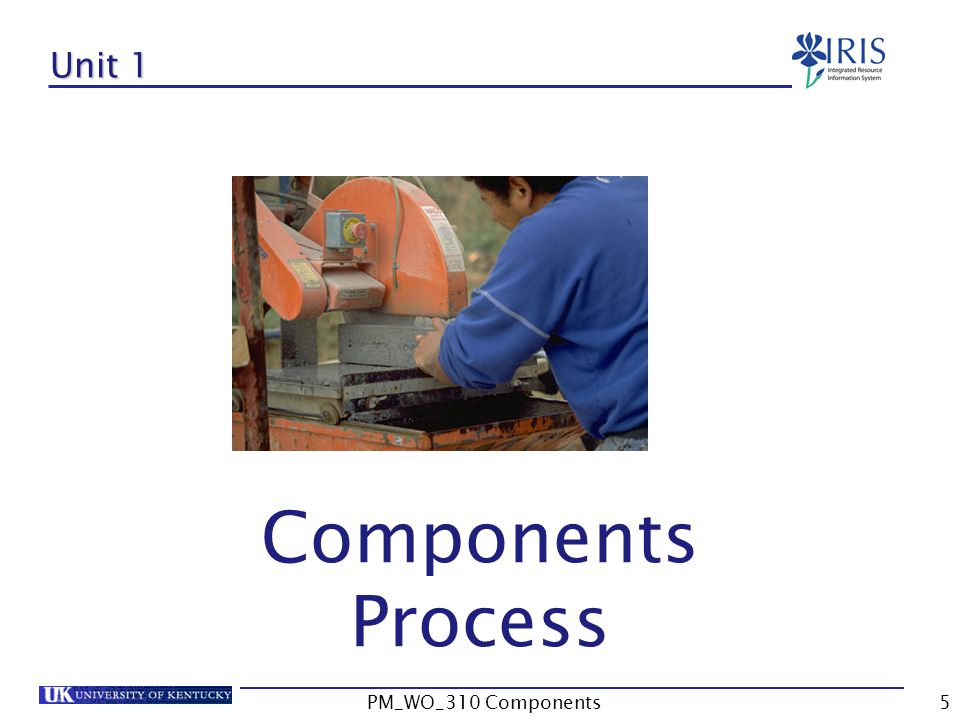 Unit 1 Components Process PM_WO_310 Components PM_WO_310 Components