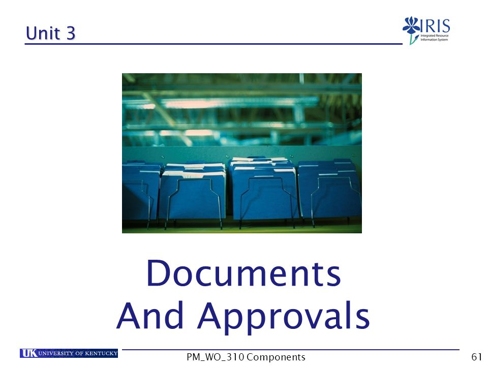 Documents And Approvals Unit 3 PM_WO_310 Components