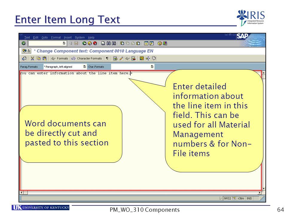 Enter Item Long Text