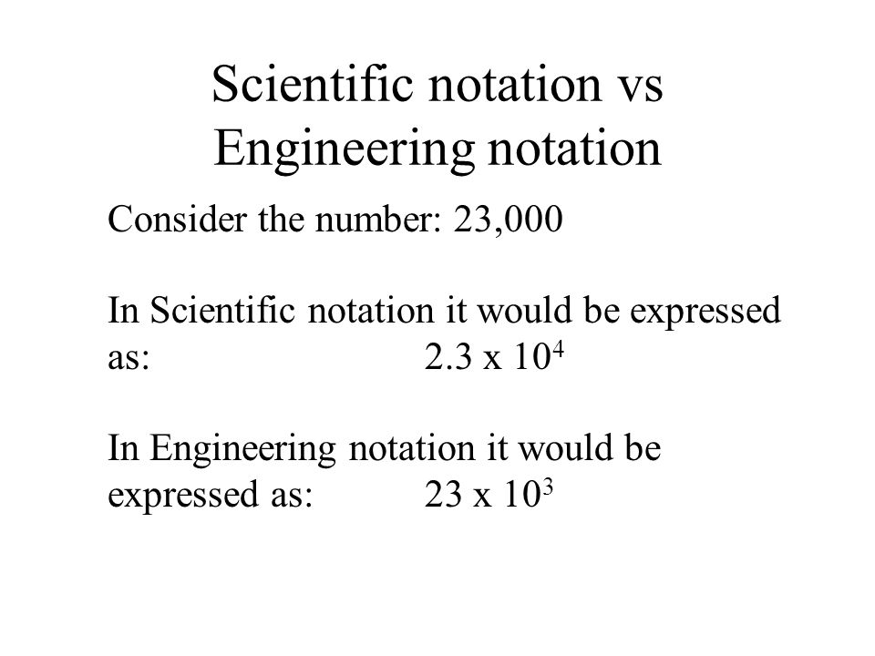 Scientific notation vs Engineering notation