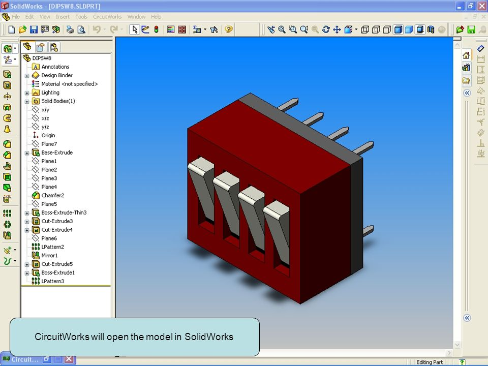CircuitWorks will open the model in SolidWorks