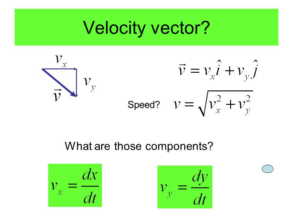 Velocity vector Speed What are those components