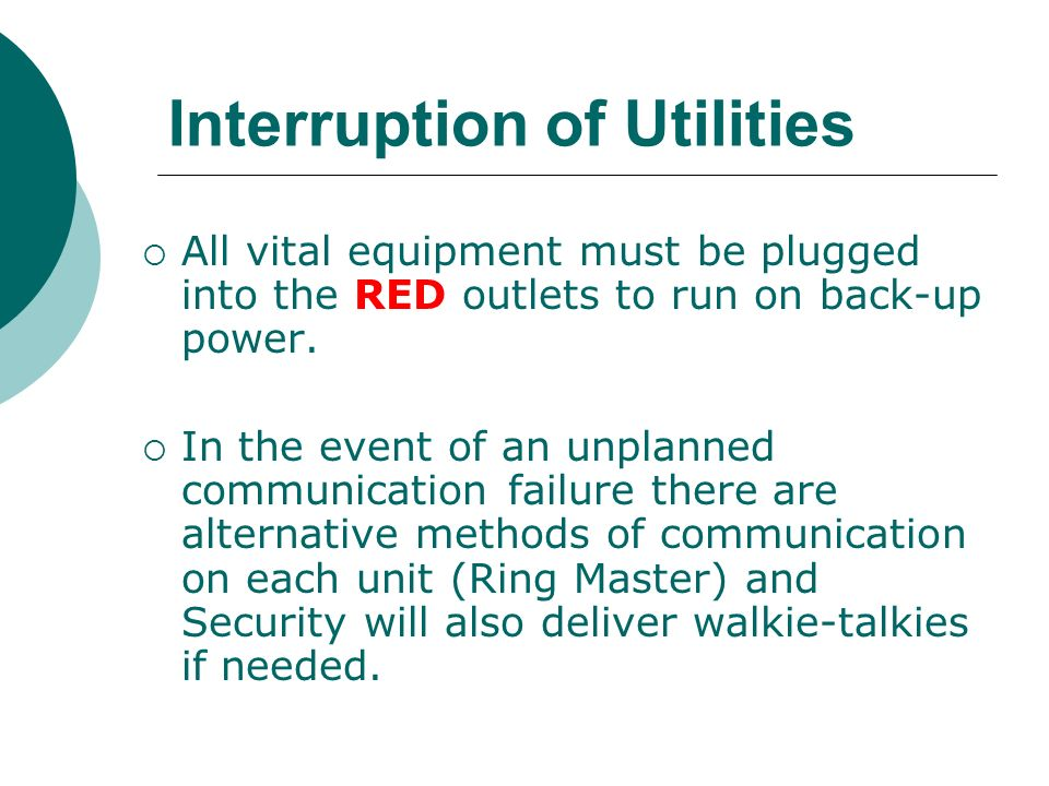 Interruption of Utilities