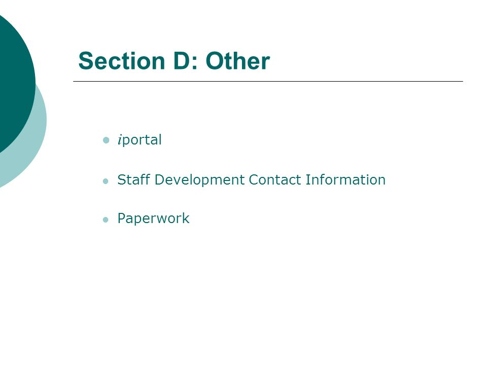 Section D: Other iportal