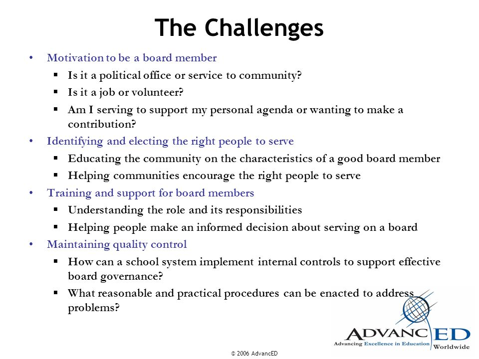 The Challenges Motivation to be a board member