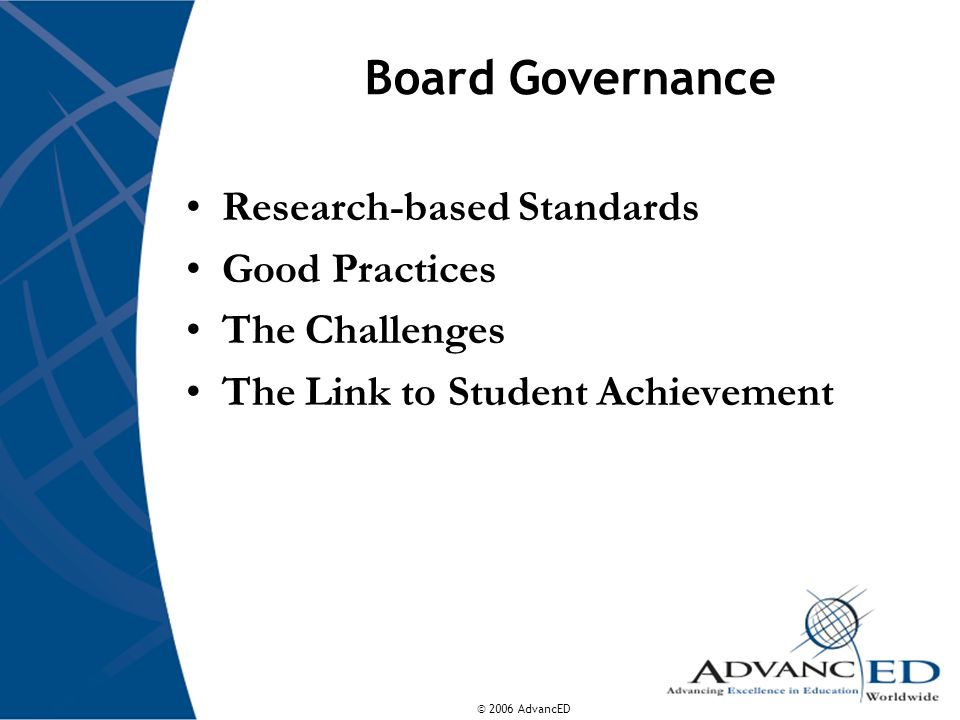 Board Governance Research-based Standards Good Practices
