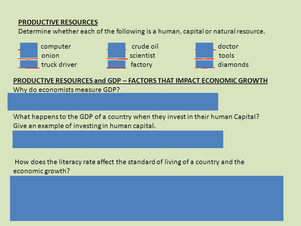 PRODUCTIVE RESOURCES Determine whether each of the following is a human, capital or natural resource.