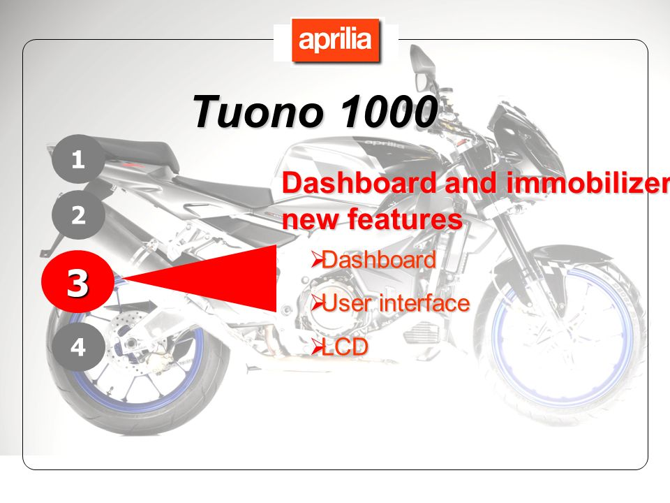Tuono 1000 3 Dashboard and immobilizer new features 1 2 Dashboard
