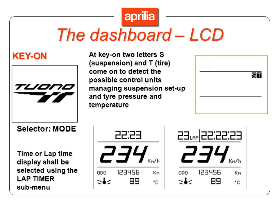 The dashboard – LCD KEY-ON Selector: MODE
